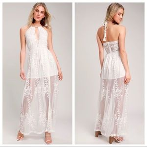 Lulu's Sunshine Sweety Embroidered White Maxi